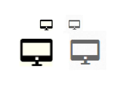 上图为设计效果细节和实现细节对比,左边为生成是的样子,右边为浏览器渲染(使用中的状态),可以看到边缘是不一样的渲染结果。 其实我想说设计和实现在这个环节是不可调和的矛盾,总会有些差距。就现在来说,具体影响的条件有:浏览器,系统甚至硬件(有点匪夷所思,但是确实有些浏览器对硬件很敏感)。在这里不一一阐述之间的巨大差别,不过之前在设计总结中曾经粗略的探讨过这个问题,总之结论是:小心像素点,注意斜线。 一些详细的对比效果在另一篇图标字体设计的文章中已有阐述 http://ux.